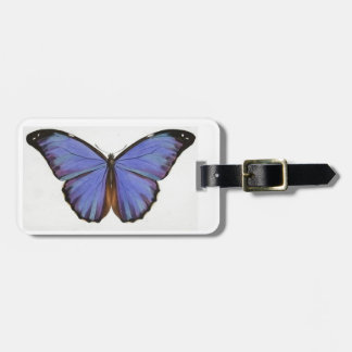 Retro Vintage Blue Butterfly Luggage Tag