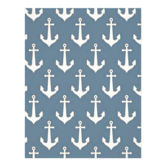 Retro Vintage Blue White Anchor Pattern Personalized Flyer