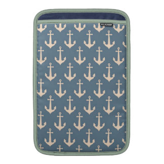 Retro Vintage Blue White Anchor Pattern MacBook Air Sleeve