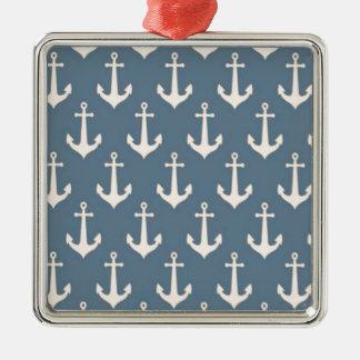 Retro Vintage Blue White Anchor Pattern Square Metal Christmas Ornament