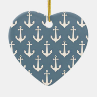 Retro Vintage Blue White Anchor Pattern Double-Sided Heart Ceramic Christmas Ornament