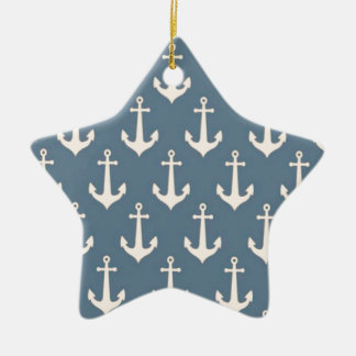 Retro Vintage Blue White Anchor Pattern Double-Sided Star Ceramic Christmas Ornament