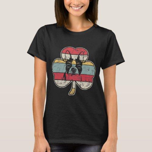Retro Vintage Boston Terrier Shamrock T_Shirt