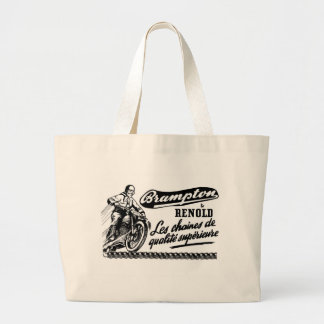 Retro Vintage Brampton Renold Motorcycle Large Tote Bag