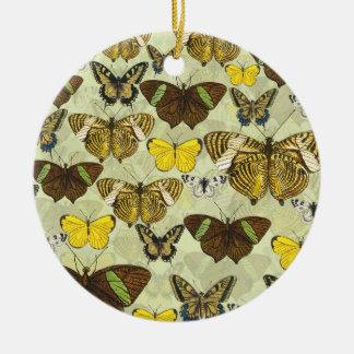 Retro Vintage Butterflies Pattern Ceramic Ornament
