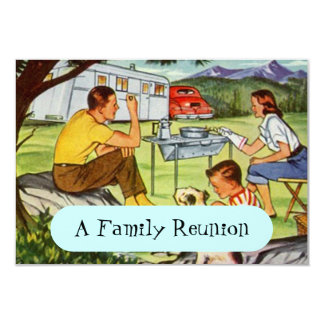 """Retro Vintage Camper Family Reunion Invitations 3.5"""" X 5"""" Invitation Card"""