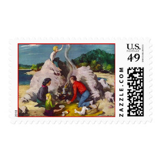 Retro Vintage Campfire Camping Postage Stamps