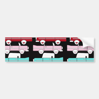 Retro Vintage Cars Pink Red Turquoise Blue Hot Rod Car Bumper Sticker