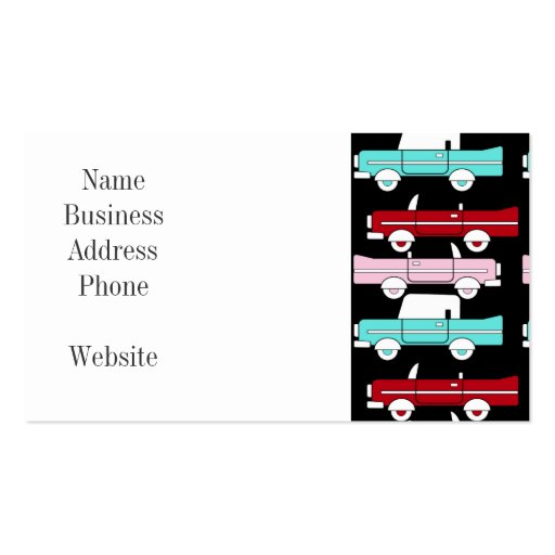 Retro Vintage Cars Pink Red Turquoise Blue Hot Rod Business Card Templates