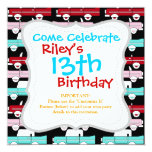 Retro Vintage Cars Pink Red Turquoise Blue Hot Rod Invitation