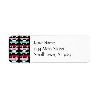 Retro Vintage Cars Pink Red Turquoise Blue Hot Rod Label