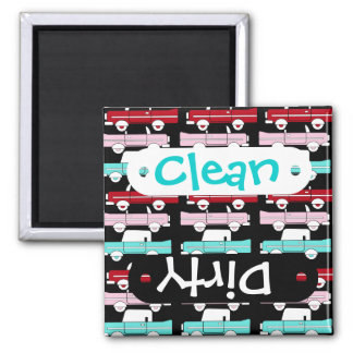 Retro Vintage Cars Pink Red Turquoise Blue Hot Rod 2 Inch Square Magnet