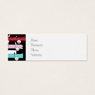 Retro Vintage Cars Pink Red Turquoise Blue Hot Rod Mini Business Card