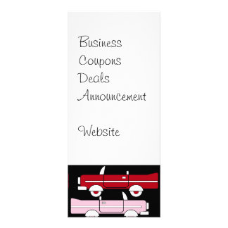 Retro Vintage Cars Pink Red Turquoise Blue Hot Rod Rack Card