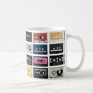 Retro vintage Cassette Mix Tapes art pattern Coffee Mug