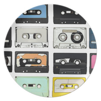 Retro vintage Cassette Mix Tapes art pattern Melamine Plate