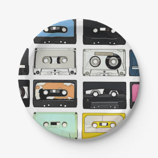 Retro vintage Cassette Mix Tapes art pattern Paper Plate