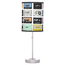 Retro vintage Cassette Mix Tapes art pattern Table Lamp
