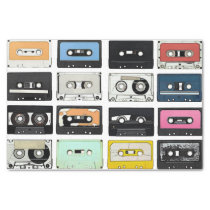 Retro vintage Cassette Mix Tapes art pattern Tissue Paper