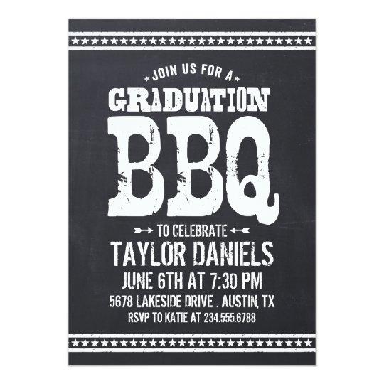 Retro Vintage Chalkboard Graduation Party BBQ Card