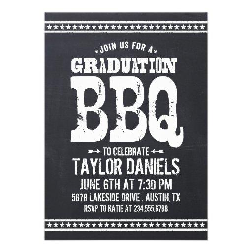 Retro Vintage Chalkboard Graduation Party BBQ Announcements