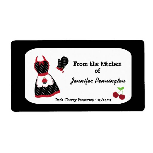 Vintage Kitchen Labels: Retro Vintage Cherry From Kitchen Of Food Labels