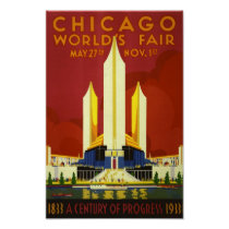Retro Vintage Chicago World's Fair advert travel