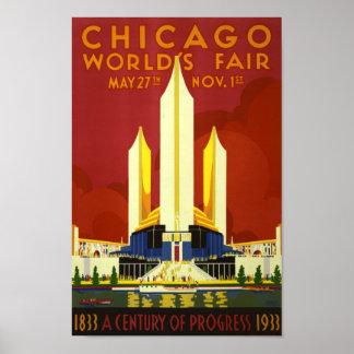 Retro Vintage Chicago World's Fair advert travel Poster