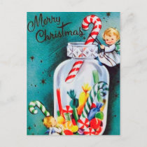 Retro vintage Christmas Angels and candy postcard