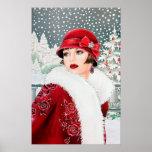 "Retro vintage Christmas art deco lady poster<br><div class=""desc"">design by www.etsy.com/Shop/VanityFlairDesign</div>"