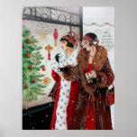 "Retro vintage Christmas art deco lady poster<br><div class=""desc"">design by www.etsy.com/Shop/VanityFlairDesigns</div>"