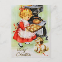 Retro Vintage Christmas baking child postcard