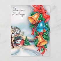 Retro Vintage Christmas bells house postcard