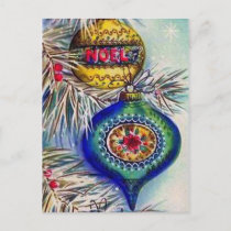 Retro vintage Christmas bulbs postcards