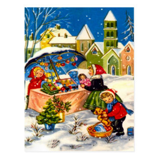 Retro Vintage Christmas , Buying gifts Postcard