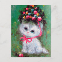 Retro vintage Christmas cat Holiday postcard