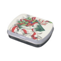Retro Vintage Christmas cat party candy tin