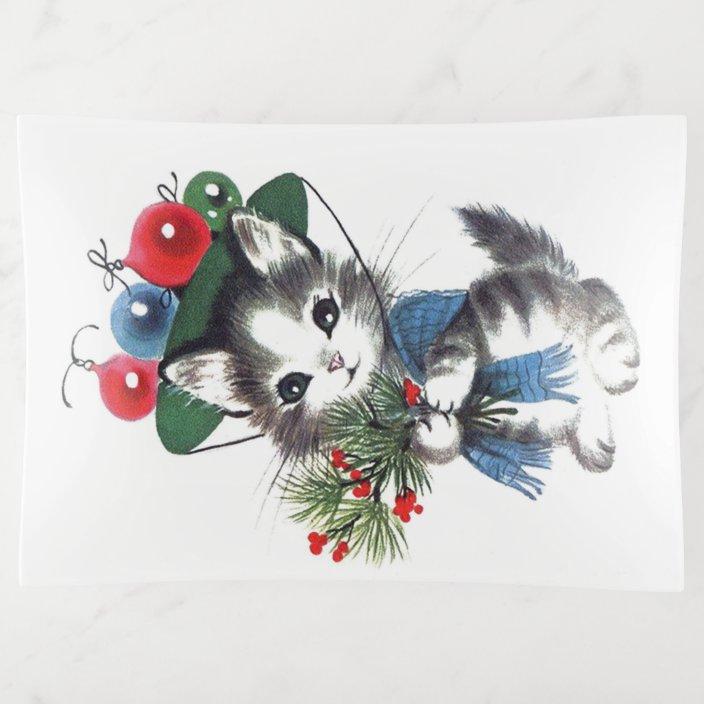 Retro Vintage Christmas Cat Trinket Tray Zazzle Com