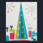 """Retro vintage Christmas cats Faux Canvas Print<br><div class=""""desc"""">design by www.etsy.com/Shop/VanityFlairDesigns</div>"""