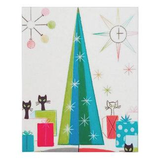 Retro vintage Christmas cats Faux Canvas Print
