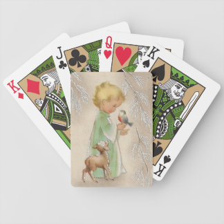Retro Vintage Christmas child playing cards
