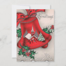Retro Vintage Christmas Church bell add message Holiday Card