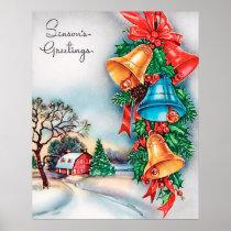 Retro vintage Christmas farm Holiday poster