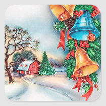 Retro vintage Christmas farm Holiday sticker