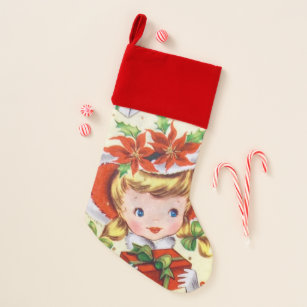 retro vintage christmas girl holiday stocking - Girl Christmas Stocking