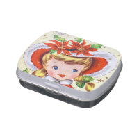 Retro Vintage Christmas girl party candy tin
