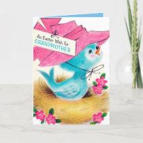 Retro vintage Christmas Grandmother bird Holiday Card