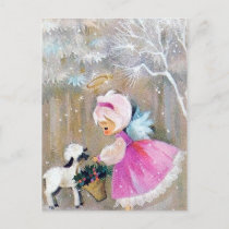 Retro vintage Christmas Holiday Angel postcard