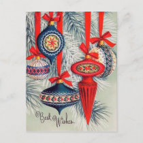 Retro vintage Christmas Holiday bulbs postcard