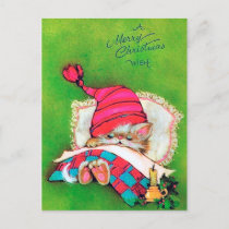 Retro vintage Christmas Holiday cat postcard